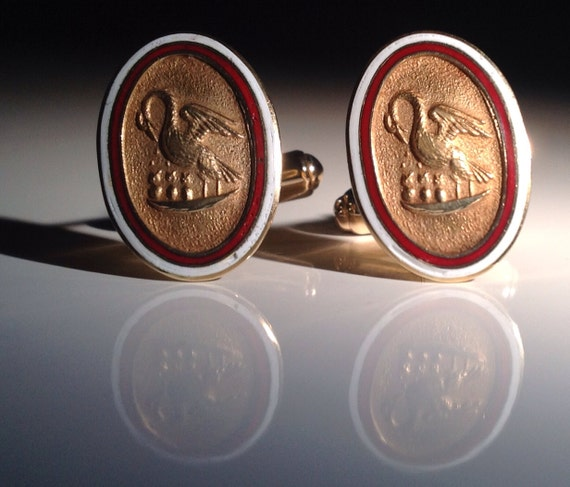 14 KT Gold Louisiana State Seal Cufflinks Red White Enamel