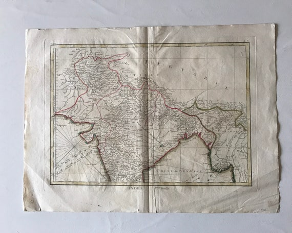 Phenomenal 1771 Map of India and Pakistan in French