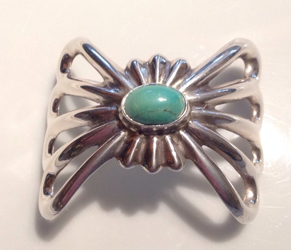Navajo Sterling Silver Sandcast Hair Piece with Turquoise