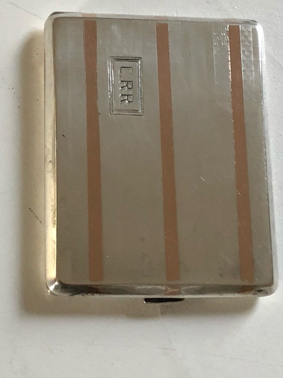 1925 Art Deco 14K Gold and Sterling Silver card or cigarette case by G.H. French