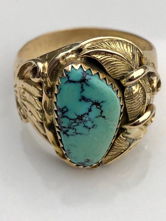 14K Gold Navajo Squash Blossom Ring (size 9.5, customizable)