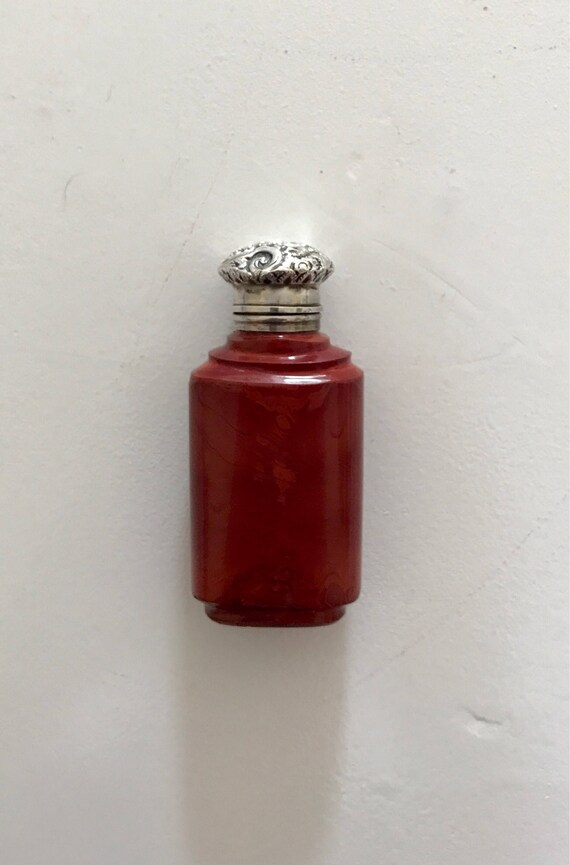 1840 French Red Lithyalin Glass Perfume Bottle with Sterling Silver Fittings