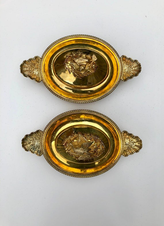 Italian Silver Gilt Ecuelle Pair with Figural Fish and Fowl