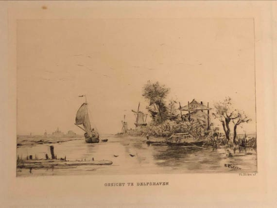 Etching or Engraving of View at Delfshaven by Philip Zilcken