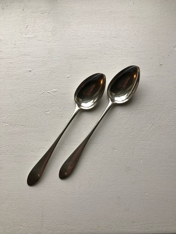1820 Scottish Provincial Teaspoon Pair by Lindsay Luke of Paisley Sterling Silver