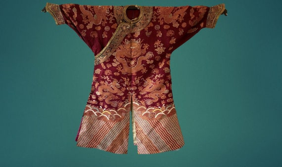 Qing Dynasty Chinese Silk Imperial Court Dragon Robe Jifu