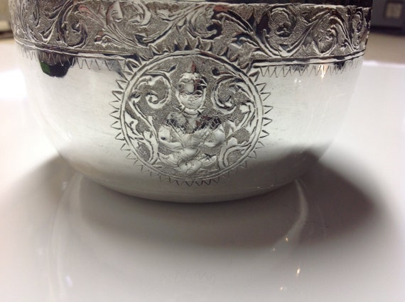 999 Silver Thai Buddhist Offering Bowl Viet Nam War Souvenir 1970s Sterling