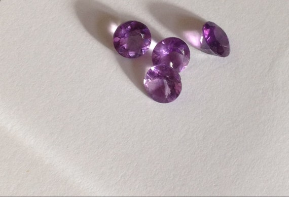 Lot of 4 Gorgeous Round Cut Matching 5mm Amethysts