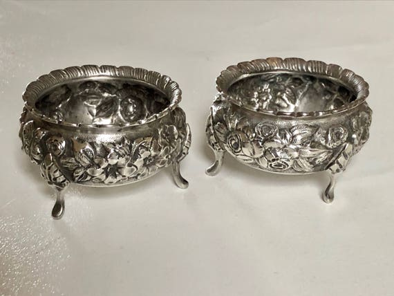 1900 Sterling Silver Repousse Baltimore Rose Salt Cellars by Schultz