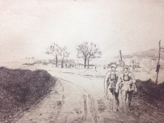 """1920 Pair of Prints by Camille Kufferath (WWI) from """"Pages of Glory and History, the 91st Division in Argonne and Flanders"""""""