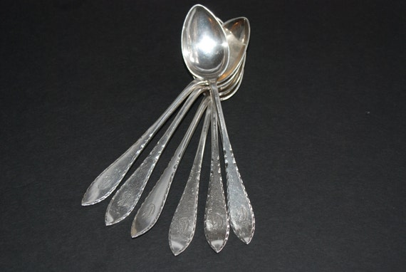Six David Andersen Matching Silver Coffee Spoons 830 S Oslo Norway