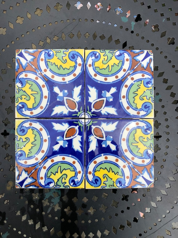 Set of Four Salvaged Hand-painted Spanish Tiles