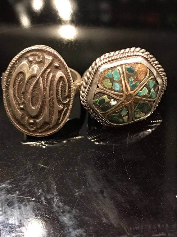 Antique Pair of Persian Silver Rings