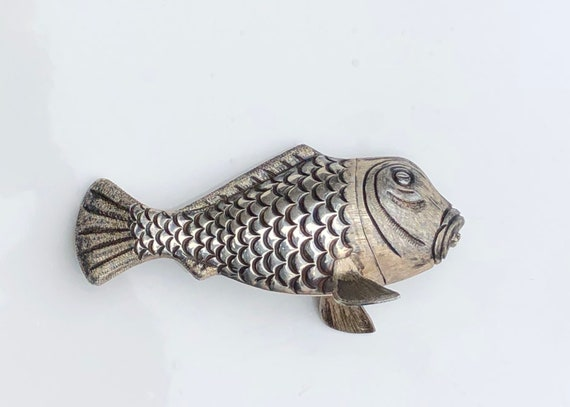 Antique Sterling Silver Mexican Figural Fish Salt Shaker