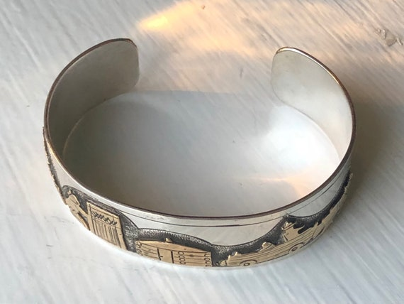 Navajo Sterling Silver and 14K Vermeil Storyteller Cuff by Kee Brown