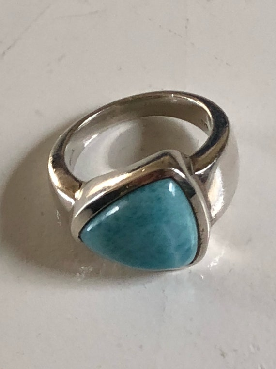 Sterling Silver Larimar Ring 925 Size 9.75 (14.6 grams)