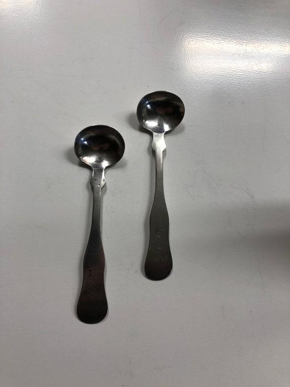 "1845-75 Salt Spoon Pair by Franklin Wordsworth Porter, Springfield, VT Coin Silver ""LW"""