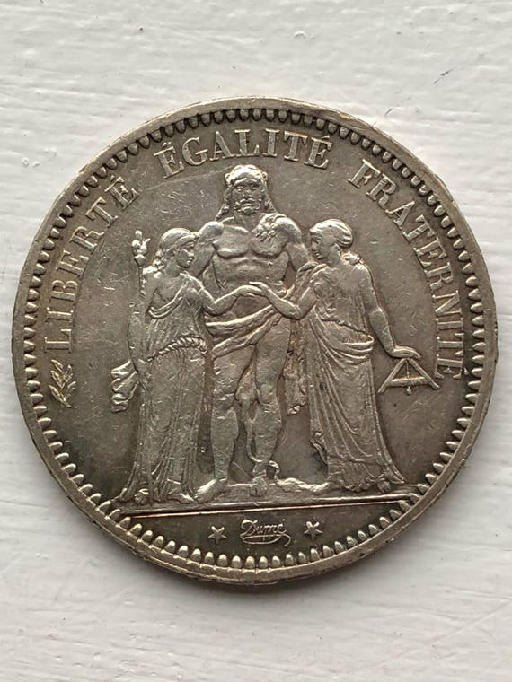 1873 A French Silver 5 Francs Coin (AU)