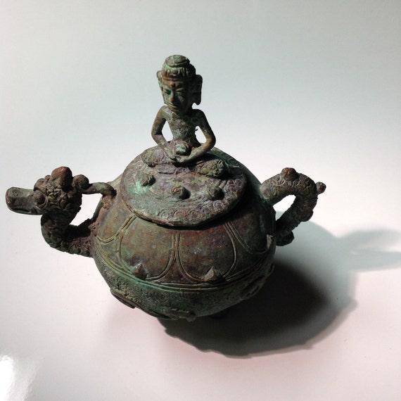 Antique Javanese Bronze Buddha Dragon Kundika