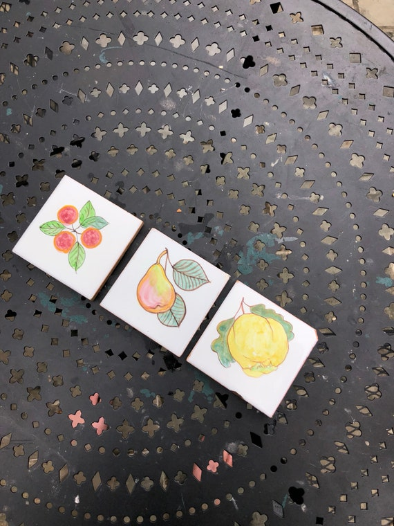 Set of 3 Salvaged Hand-painted Terracotta Tiles