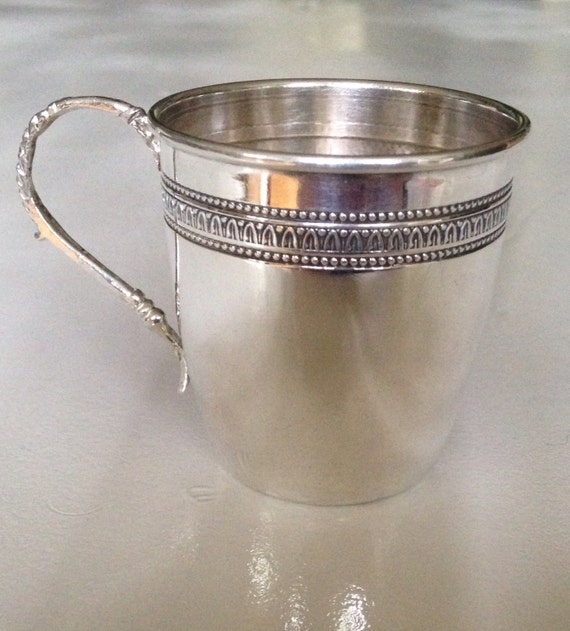 1935 Antique Italian 800 Silver Baby Cup Christening - 'Ronnie'