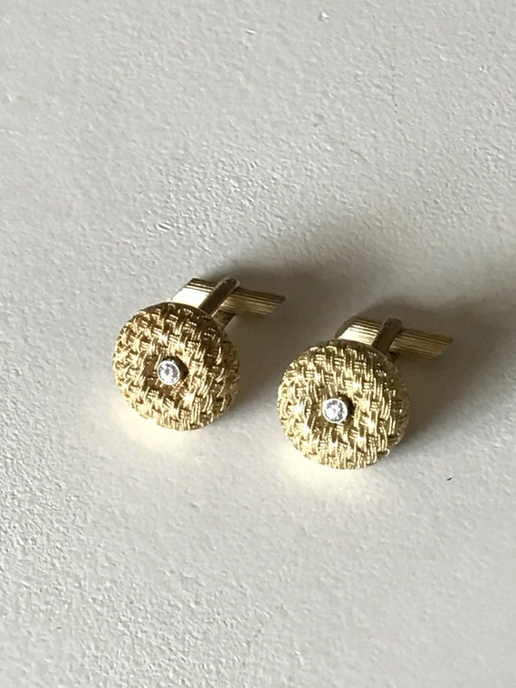 18K Gold and Diamond Midcentury Woven Cufflinks 750