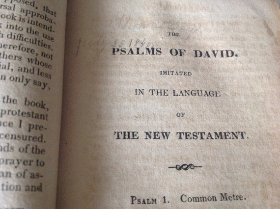 1821 The Psalms of David by Isaac Watts - Yale and Connecticut Provenance