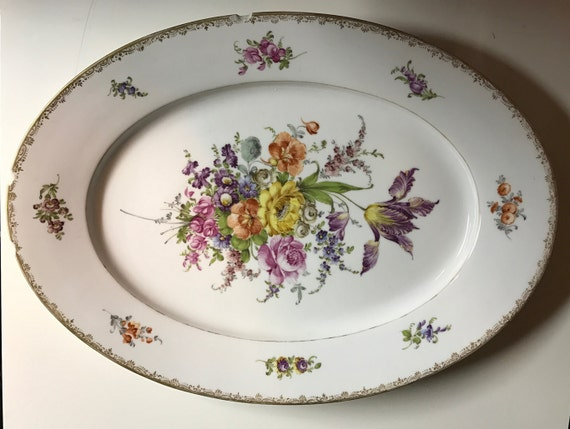 19th c. Chippy Porcelain Serving Platter Hand Painted Dresden German