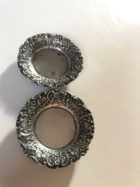 1890 Repousse German 800 Silver Butter Pats (or Ring tray, Pin Tray)