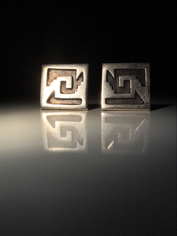 1965 Mexico Sterling Silver Geometric Cufflinks