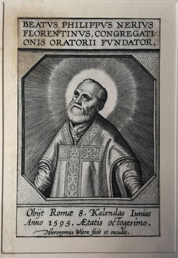 1606 Hieronymus Wierix (1553-1619) Engraving of St. Philip Romolo Neri, Third Apostle of Rome (d. 1595)