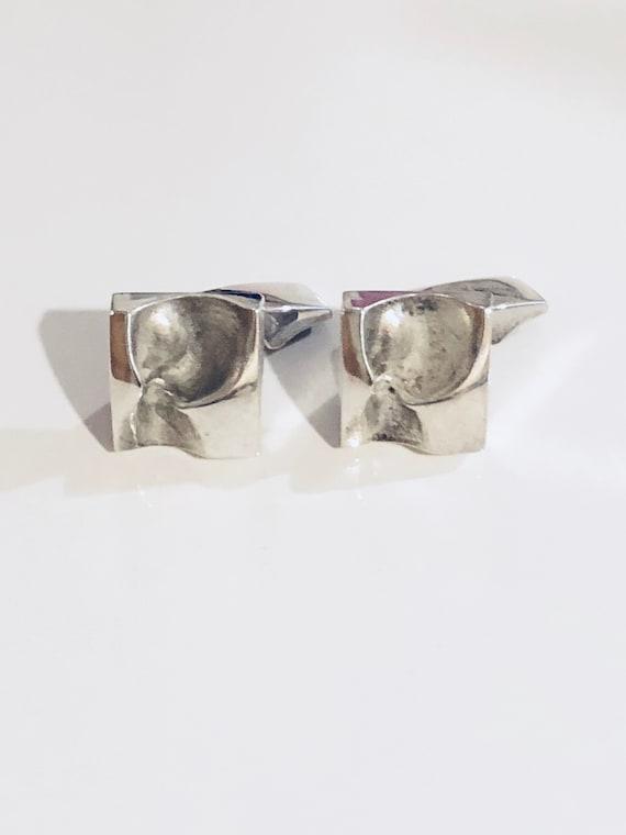 1975 Sterling Silver Sirokoru Finnish Modernist Cufflinks