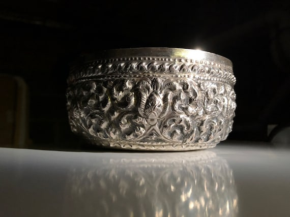 1950's Silver Repousse Thai Buddhist Offering Bowl