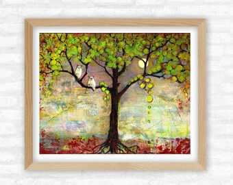 Tree of Life, Two Owls Perched in Tree, Nightscape Tree Art, Modern Rustic