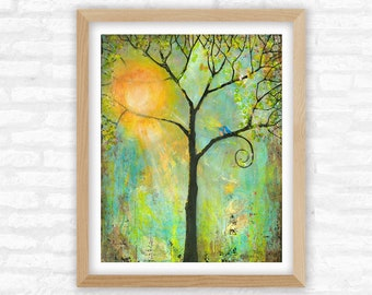 Hello Sunshine, Lovebirds in a Tree of Life, Art Nature Print, Birds and Wildlife Themed