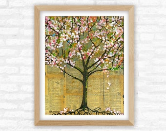 Tree of Life, Happy Little Bluebirds, Pink Blossoms, Nature Art Print for Home Decor, Rustic Farmhouse Style Wall Decor