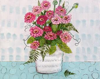 Home Decor, Wall Art, Flower Art, Flower Decor, Flower Painting, Original Artwork, Pink Flowers, 24x24, Zinnias