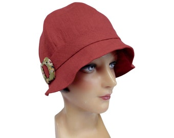 Red Linen Cloche with Vintage Floral Buckle - Women's Hat - Summer Hat - XL