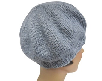 Knit Beret in Pale Gray Blue Yarn