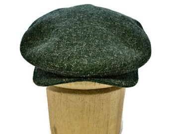 Men s Driving Cap in Vintage Green Tweed - Wool Flat Cap - Retro Driving Cap 16c25b2ecd84