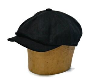 Men s Newsboy Cap in Black Linen - Newsboy Hat - Black Linen Cap - Men s Hat 7d4f65a0263e