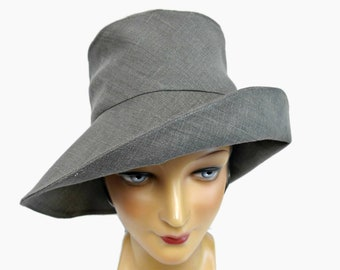 Retro Sun Hat Size 22 Summer Beach Hat Sun Hat in Gray Linen Ready to Ship