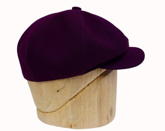 Newsboy Cap in Deep Purple Wool Crepe - Ready to Ship - Size 7 3/8