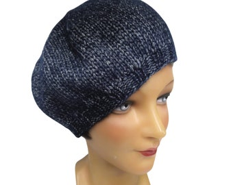 Knit Beret in Navy Blue Blue with White Flecks - Ready to Ship