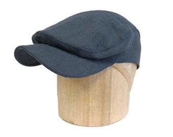 "Men's Denim Blue Linen Flat Cap - Ivy Cap - Linen Driving Cap - Size 23"""