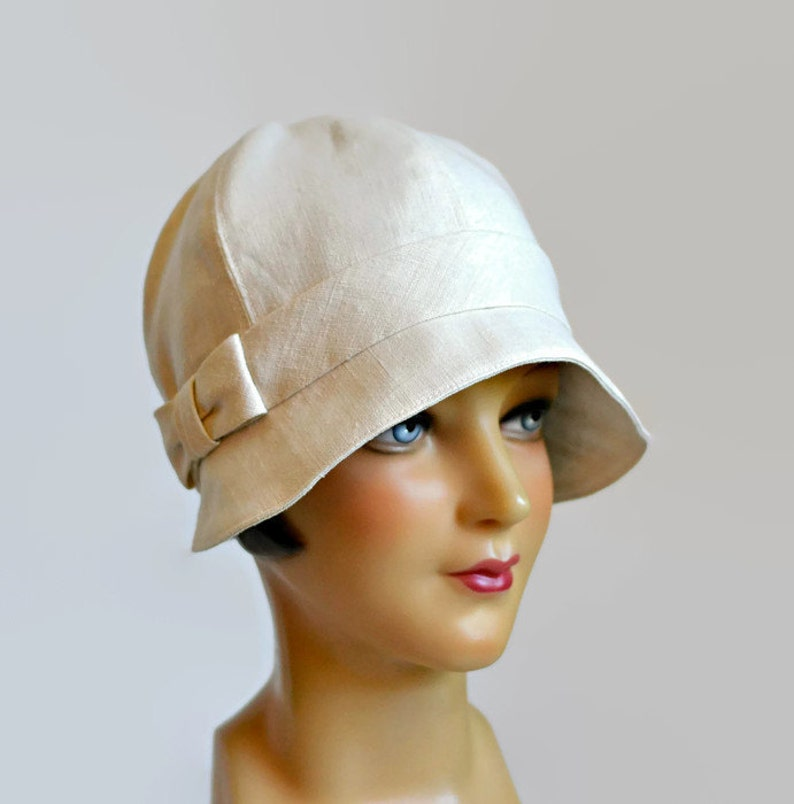 f5fd73c181b Women s Cloche Hat in Cream Linen with Bow 1920s Cloche