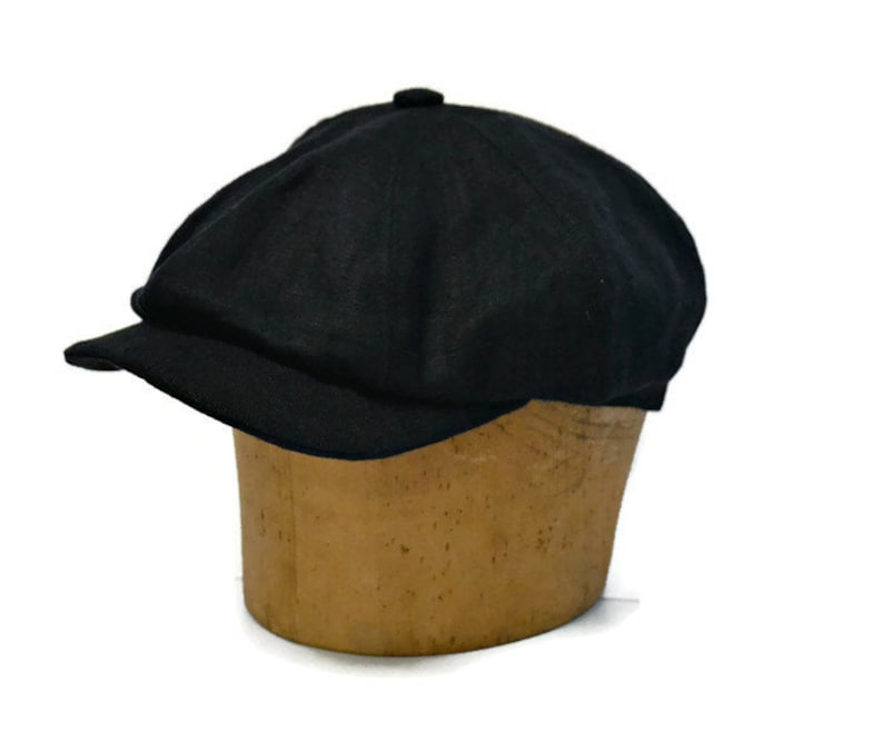 6a604fb06723e Men s Newsboy Cap in Black Linen Newsboy Hat Black