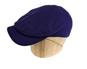 Men's Flat Cap in Vintage Purple Stretch Wool - Size 7 1/2 - Men's Driving Cap