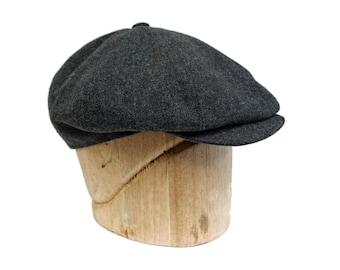 Men's Newsboy Hat in Gray Wool - Men's Baker Boy Hat -  Size 7 3/8