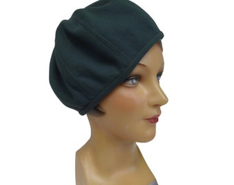 Beret in Dark Green Wool Crepe - 1930s Style Beret - Women's Hat - Made to Order in Your Size